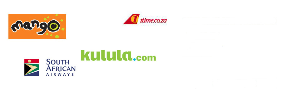 Mango, 1Time, South african Airways & Kulula.com Airline Services